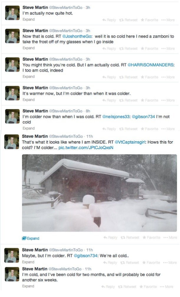 Steve Martin Tweets Weather